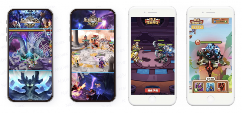 Summoners War and Idle Hero localized playable ads ,Nativex